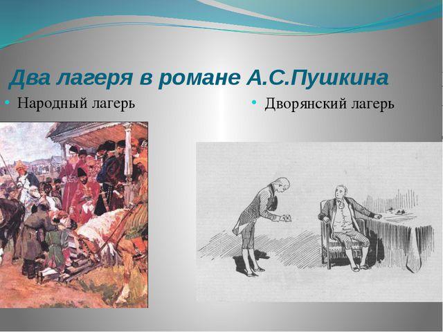Два лагеря в романе А.С.Пушкина Народный лагерь Дворянский лагерь