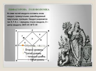 ПИФАГОРОВА ГОЛОВОЛОМКА Из семи частей квадрата составить снова квадрат, прям