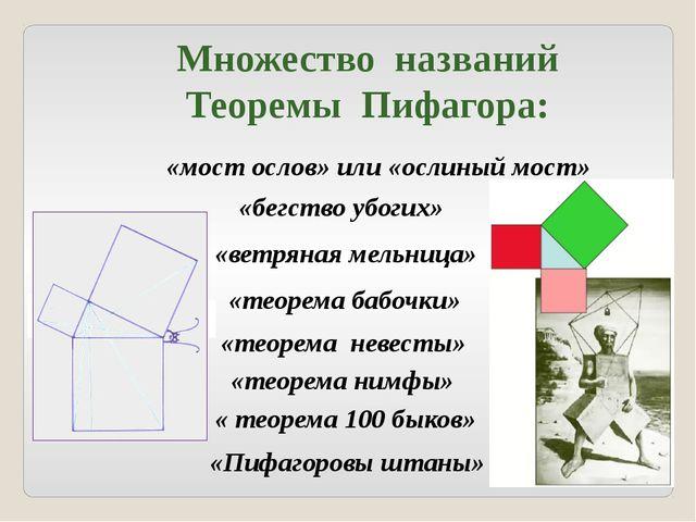 «бегство убогих» Множество названий Теоремы Пифагора: «мост ослов» или «ослин...