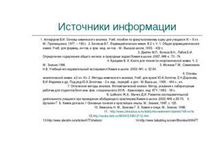 Источники информации 1. Астафуров В.И. Основы химического анализа. Учеб. посо
