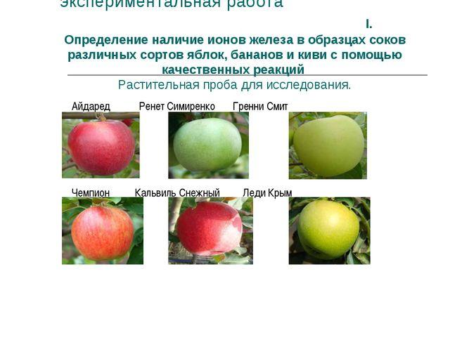 экспериментальная работа I. Определение наличие ионов железа в образцах соко...