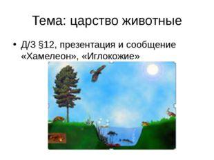 Тема: царство животные Д/З §12, презентация и сообщение «Хамелеон», «Иглокожие»