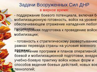 в мирное время: Задачи Вооруженных Сил ДНР - поддержание боевого потенциала,