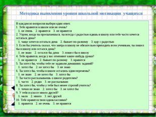 Методика выявления уровня школьной мотивации учащихся В каждом из вопросов в