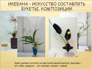 Букет должен состоять из растений разной высоты: высокие – это небо, средние