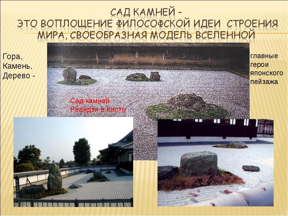 Гора, Камень, Дерево - главные герои японского пейзажа Сад камней Рёандзи в К...