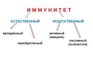 ЕСТЕСТВЕННЫЙ ИСКУССТВЕННЫЙ И М М У Н И Т Е Т врождённый приобретённый активны