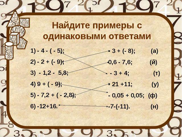 Найдите примеры с одинаковыми ответами - 4 - ( - 5); - 2 + (- 9); - 1,2 - 5,8...
