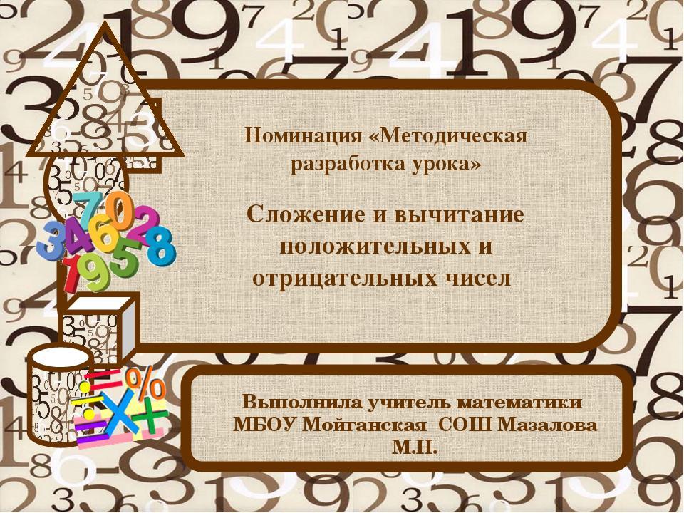 Сложение и вычитание положительных и отрицательных чисел Выполнила учитель ма...