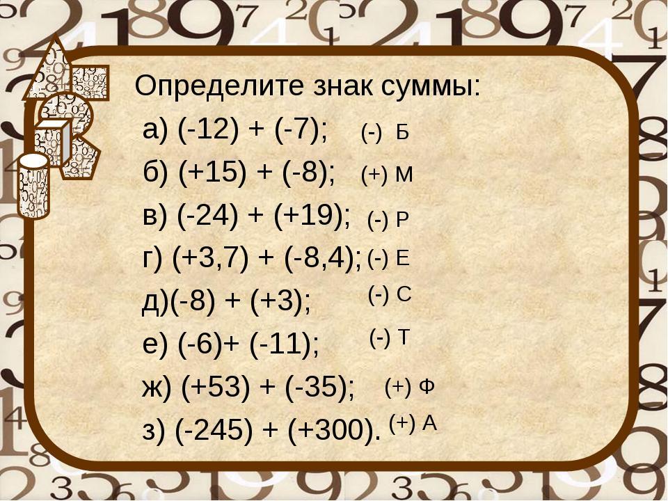 Определите знак суммы: а) (-12) + (-7); б) (+15) + (-8); в) (-24) + (+19); г...