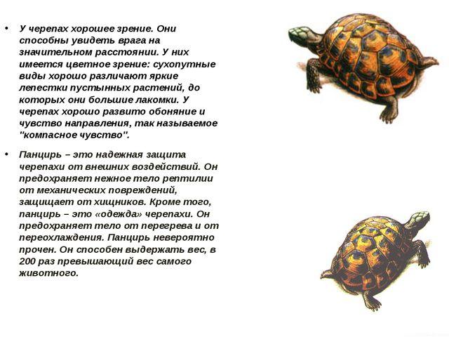 У черепах хорошее зрение. Они способны увидеть врага на значительном расстоя...
