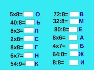* * 5х8= О 40:8= Ь 8х3= Л 2х8= С 8х8= Г 6х7= Н 54:9= К 72:8= В 32:8= М 80:8=
