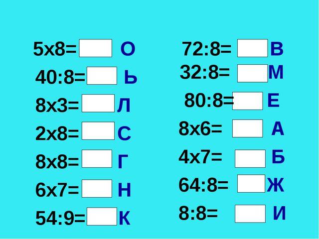 * * 5х8= О 40:8= Ь 8х3= Л 2х8= С 8х8= Г 6х7= Н 54:9= К 72:8= В 32:8= М 80:8=...