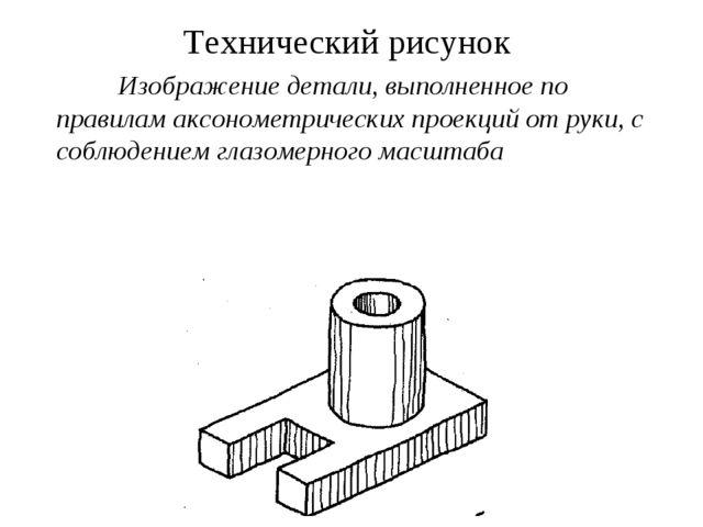 Технический рисунок Изображение детали, выполненное по правилам аксонометриче...