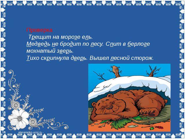Проверка Трещит на морозе ель. Медведь не бродит по лесу. Спит в берлоге мох...