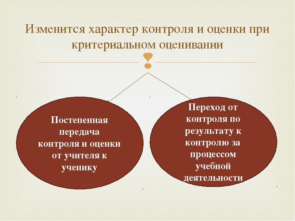 Изменится характер контроля и оценки при критериальном оценивании Постепенна...
