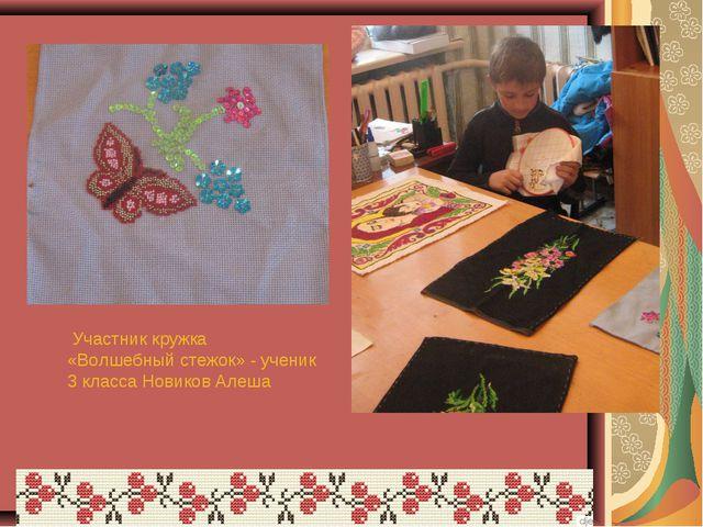 Участник кружка «Волшебный стежок» - ученик 3 класса Новиков Алеша
