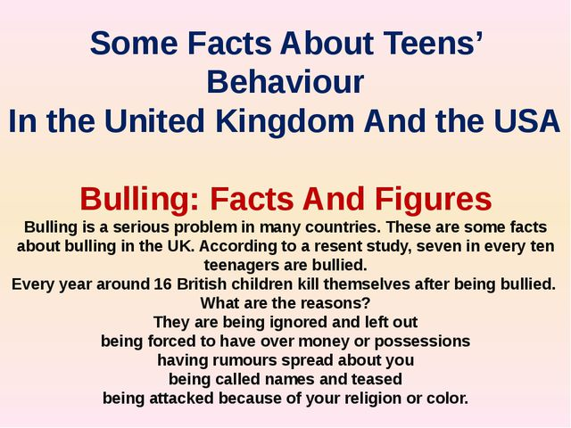 Some Facts About Teens' Behaviour In the United Kingdom And the USA Bulling:...