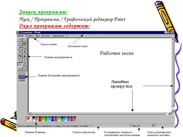 Запуск программы: Пуск / Программы / Графический редактор Pаint Окно программ...