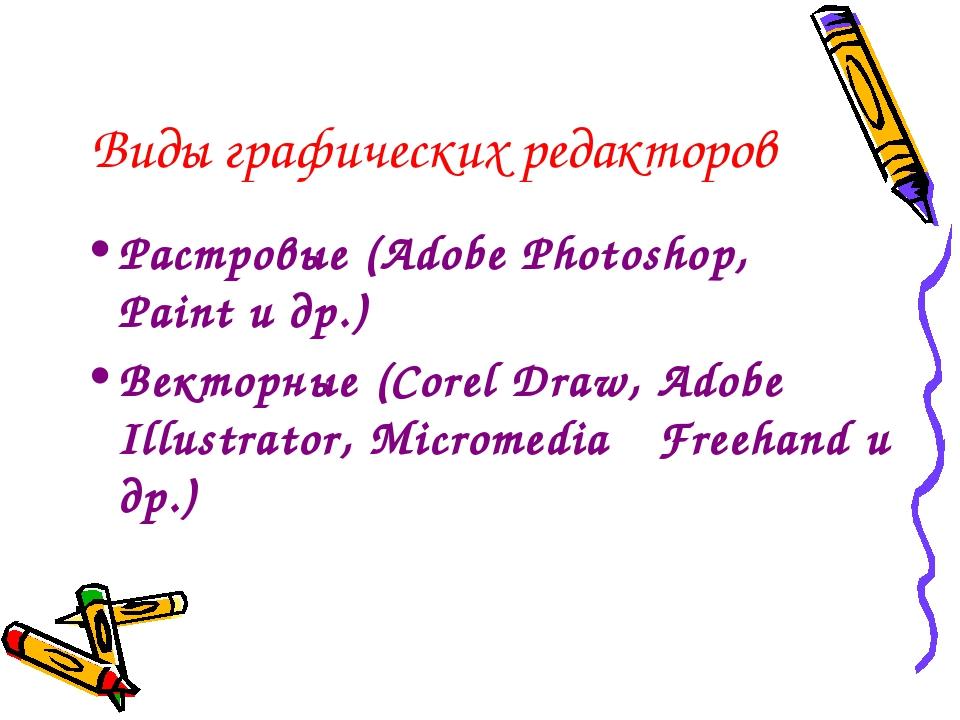 Виды графических редакторов Растровые (Adobe Photoshop, Paint и др.) Векторн...