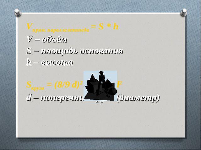 Vпрям. параллелепипеда = S * h V – объём S – площадь основания h – высота Sк...