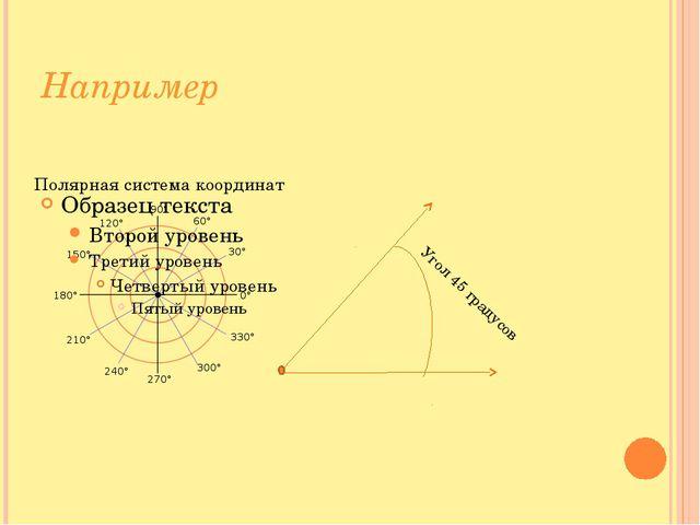 Например Угол 45 градусов Полярная система координат