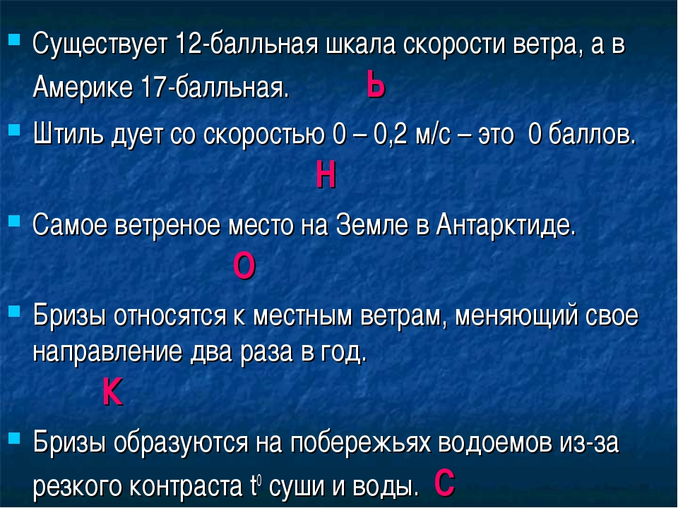 Существует 12-балльная шкала скорости ветра, а в Америке 17-балльная. Ь Штиль...