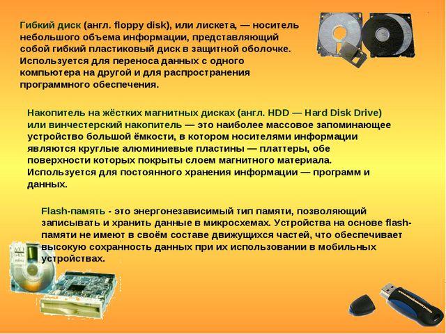 Гибкий диск (англ. floppy disk), или лискета, — носитель небольшого объема ин...