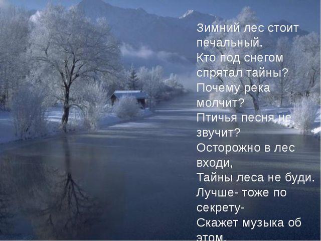 Зимний лес стоит печальный. Кто под снегом спрятал тайны? Почему река молчит?...