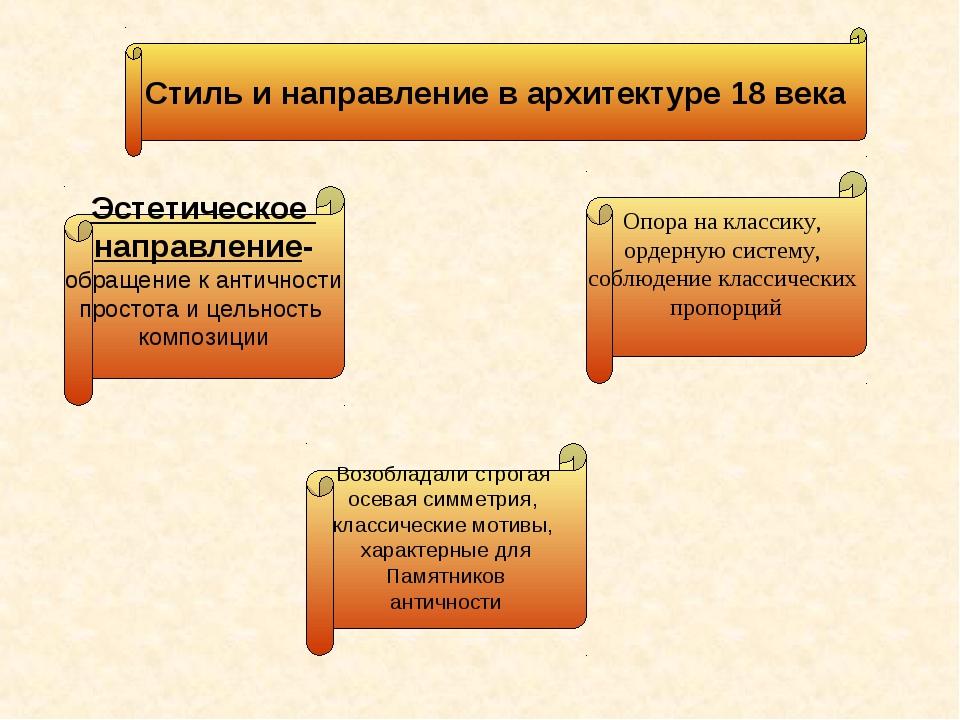 Опора на классику, ордерную систему, соблюдение классических пропорций Возобл...