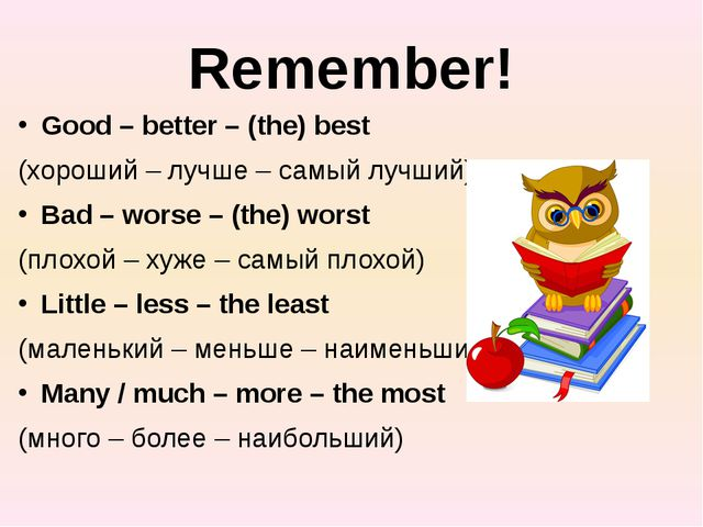 Remember! Good – better – (the) best (хороший – лучше – самый лучший) Bad – w...