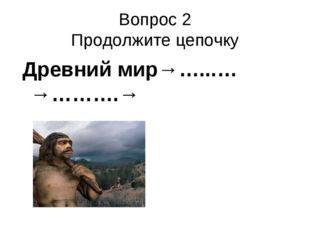 Вопрос 2 Продолжите цепочку Древний мир→…...…→……….→