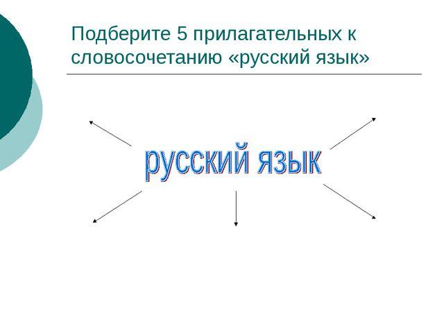 Подберите 5 прилагательных к словосочетанию «русский язык»
