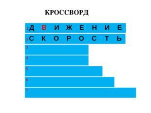 КРОССВОРД 1 ДВИЖЕНИЕ 3 2 СКОРОСТЬ 4  5  6  7