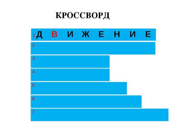 КРОССВОРД 1 ДВИЖЕНИЕ 3 2  4  5  6  7...