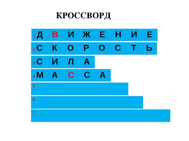 КРОССВОРД 1 ДВИЖЕНИЕ 3 2 СКОРОСТЬ 4 МАССА 5  6...