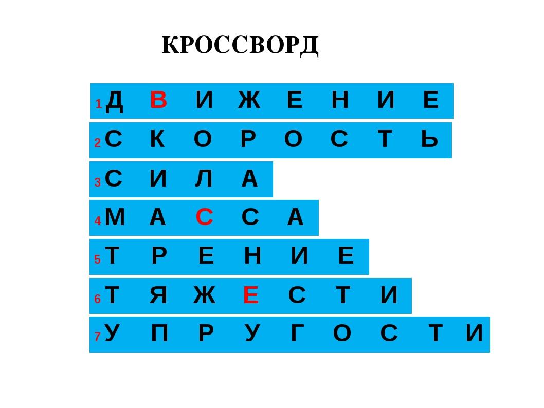 КРОССВОРД 1 ДВИЖЕНИЕ 3 2 СКОРОСТЬ 4 МАССА 5 ТРЕНИЕ...