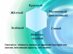 Красный Зелёный Жёлтый Небесно-голубой Малиновый (фиолетовый) Синий Светлост