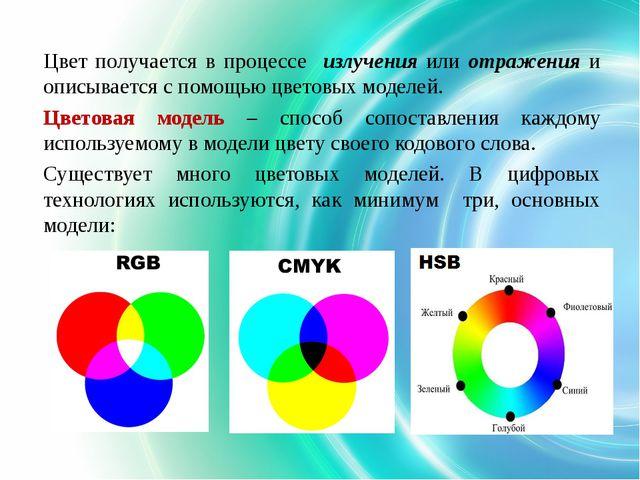 Цвет получается в процессе излучения или отражения и описывается с помощью цв...