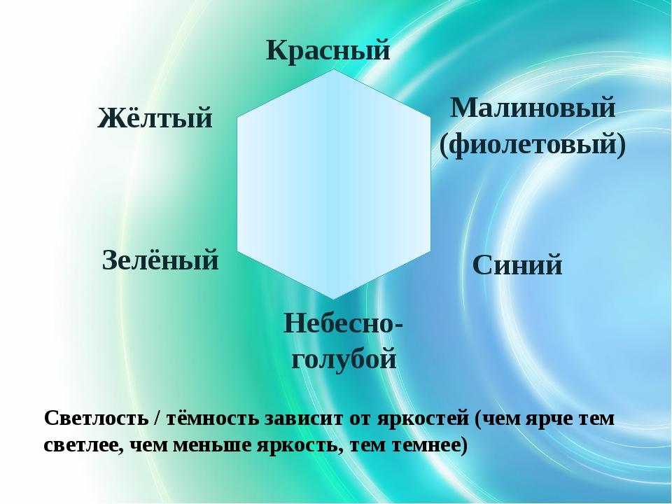 Красный Зелёный Жёлтый Небесно-голубой Малиновый (фиолетовый) Синий Светлост...