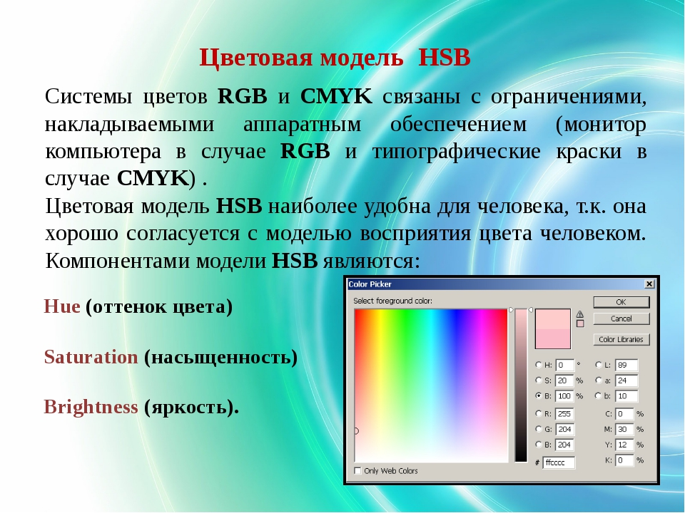 Hue (оттенок цвета) Saturation (насыщенность) Brightness (яркость). Цветовая...