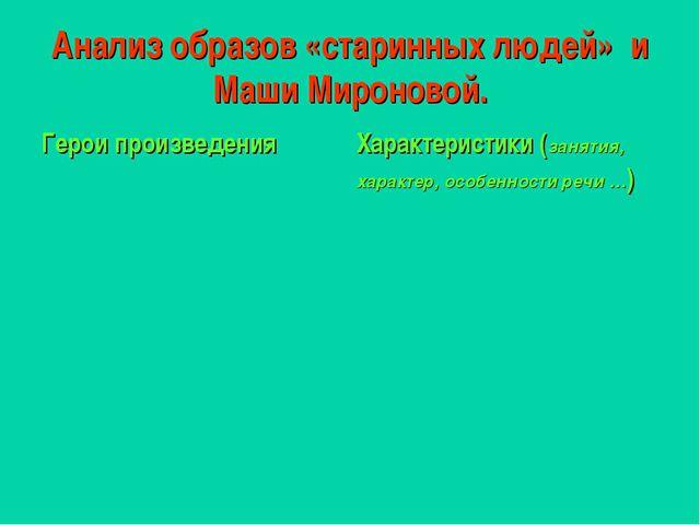 Анализ образов «старинных людей» и Маши Мироновой. Герои произведенияХаракте...