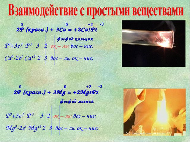 2P (красн.) + 3Mg = +2Mg3P2 фосфид магния 2P (красн.) + 3Ca = +2Ca3P2 фосфид...