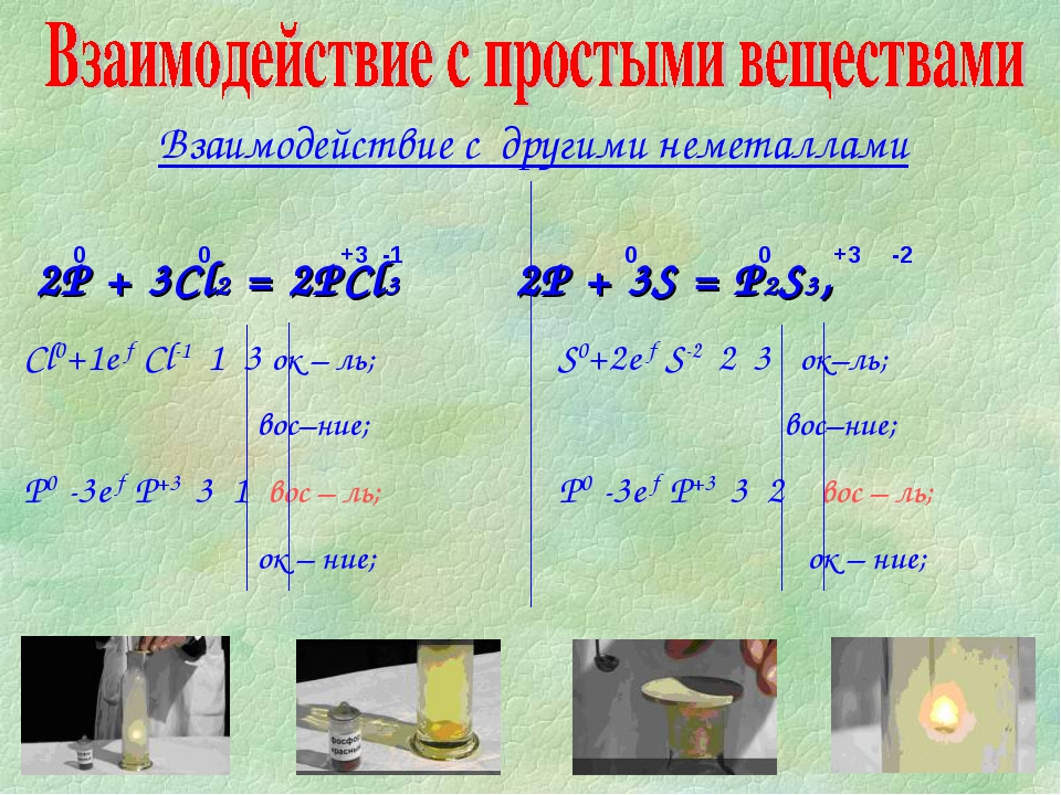 Взаимодействие с другими неметаллами 2P + 3Cl2 = 2PCl3 2P + 3S = P2S3,