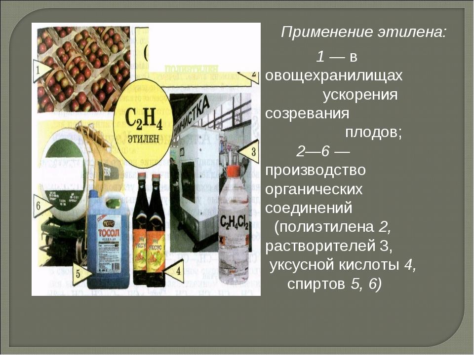 1 — в овощехранилищах ускорения созревания плодов; 2—6 — производство органи...
