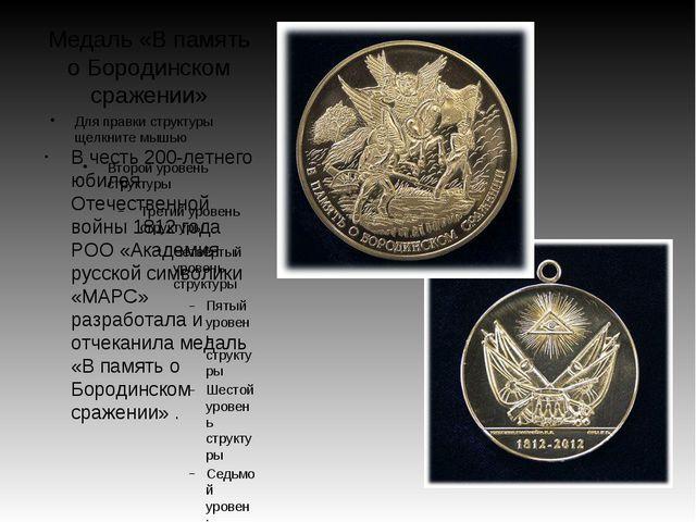Медаль «В память о Бородинском сражении» В честь 200-летнего юбилея Отечестве...