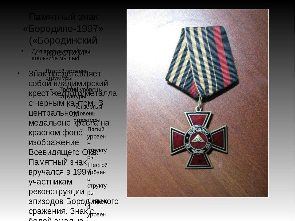 Памятный знак «Бородино-1997» («Бородинский крест») Знак представляет собой в...