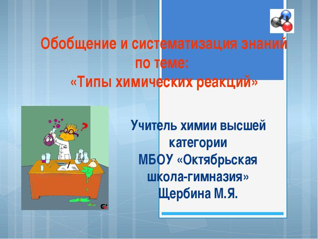 Обобщение и систематизация знаний по теме: «Типы химических реакций» Учитель...