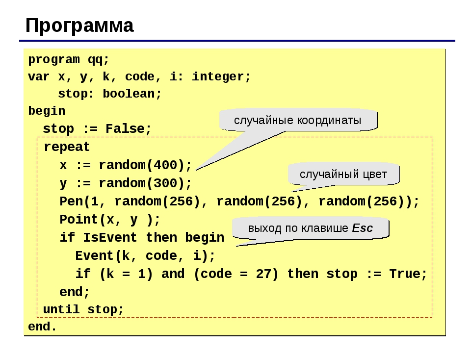 Программа program qq; var x, y, k, code, i: integer; stop: boolean; begin sto...