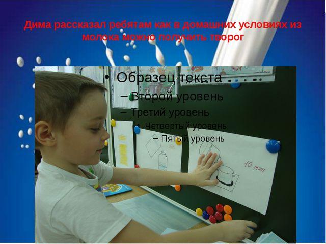 Дима рассказал ребятам как в домашних условиях из молока можно получить творог